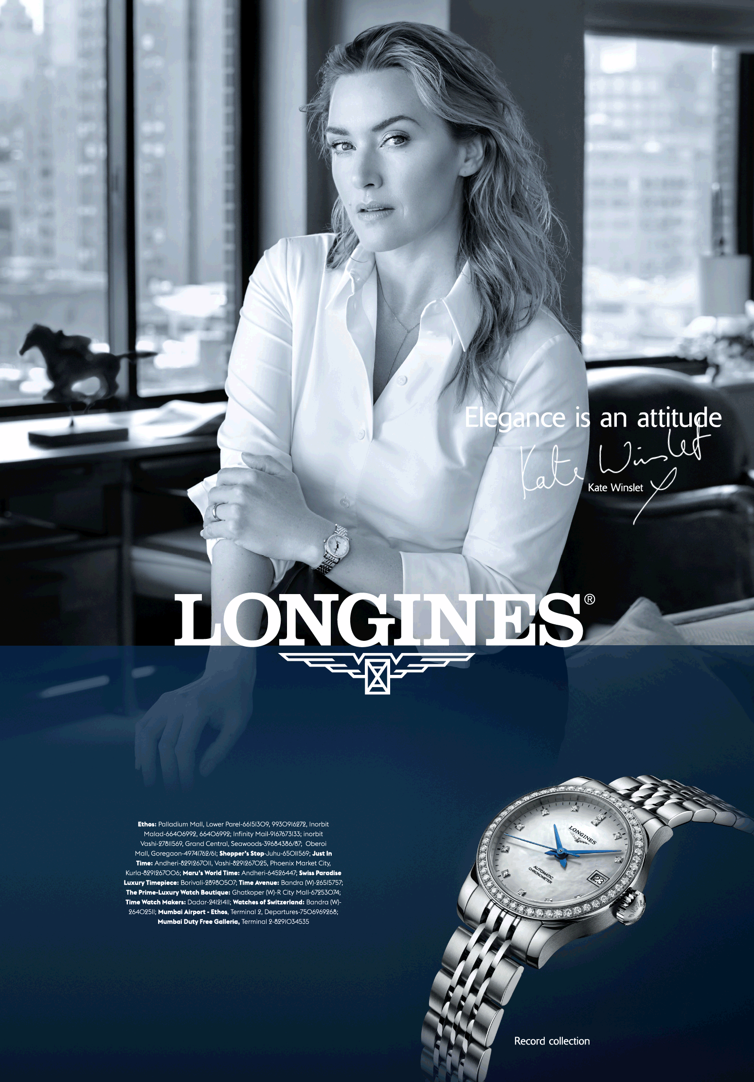 Longines Watches Elegance Is An Attitude Ad Times Of India Mumbai Https Www Advertgallery Com Product Tag Watch Longines Kate Winslet Best Watches For Men