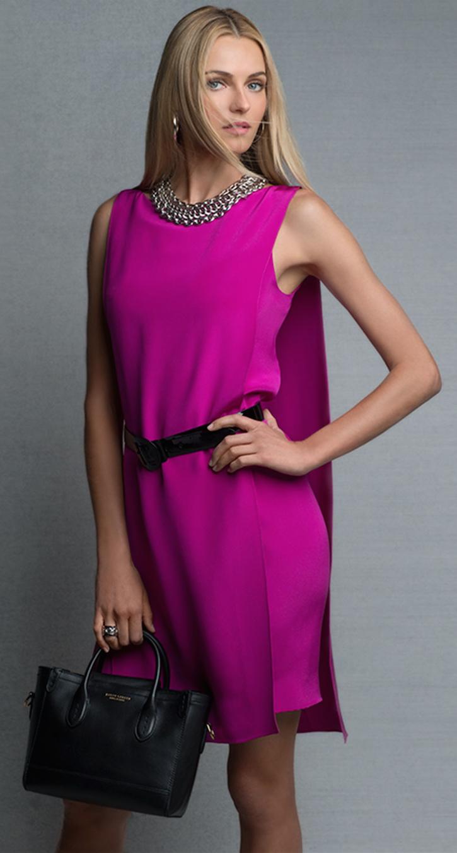 Ralph Lauren Black Label Self-Belt Cape-Back Silk Dress ...