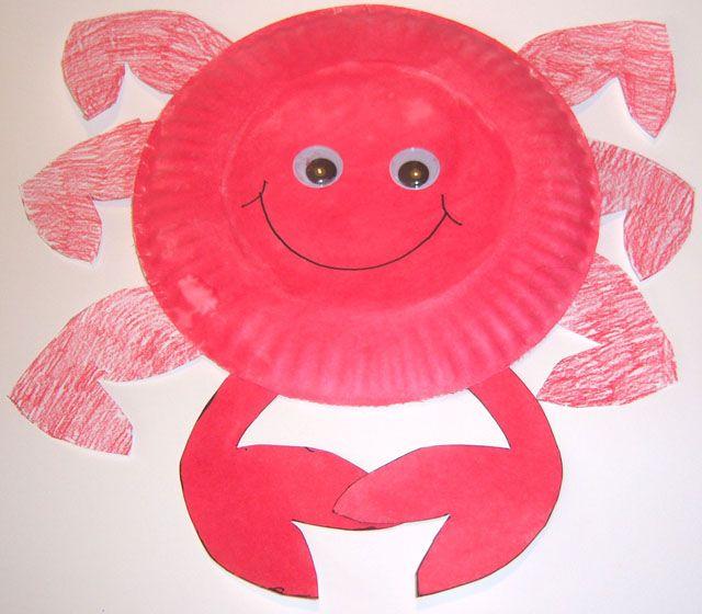 Crab Paper Plate Craft-redcraft & Crab Paper Plate Craft-redcraft | ((( Classroom Ideas ...
