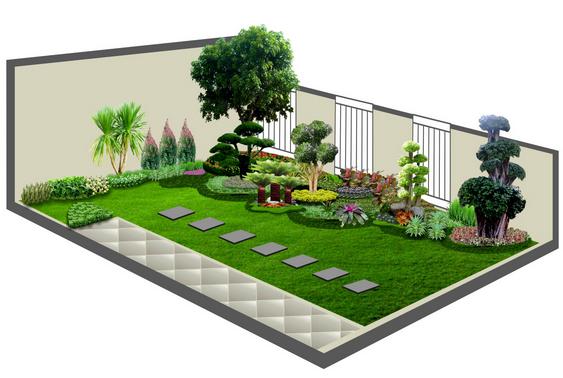 contoh model desain taman rumah Taman interior Rumah