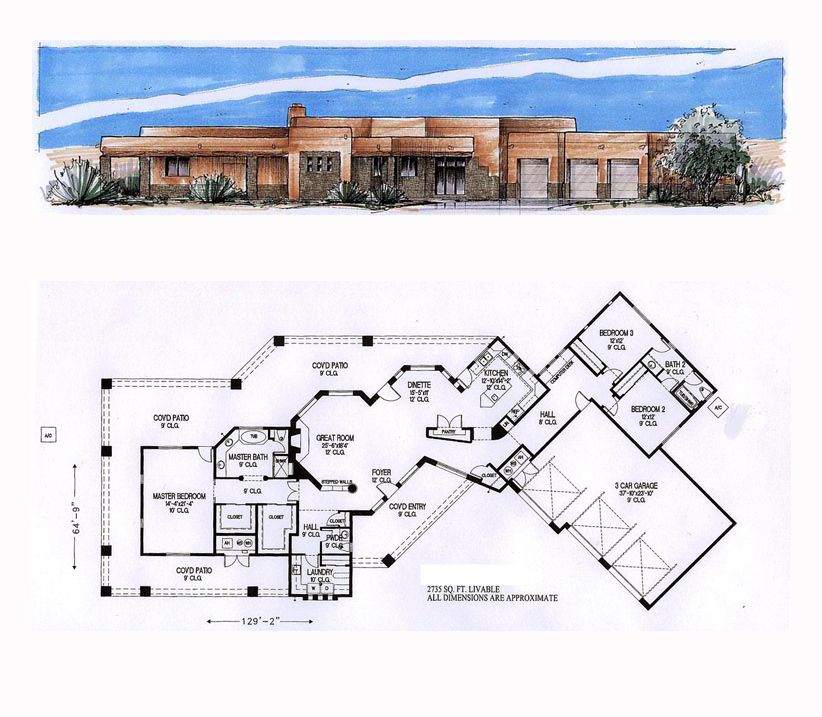 Southwest Style House Plan 54689 with 3 Bed , 3 Bath , 3 ...