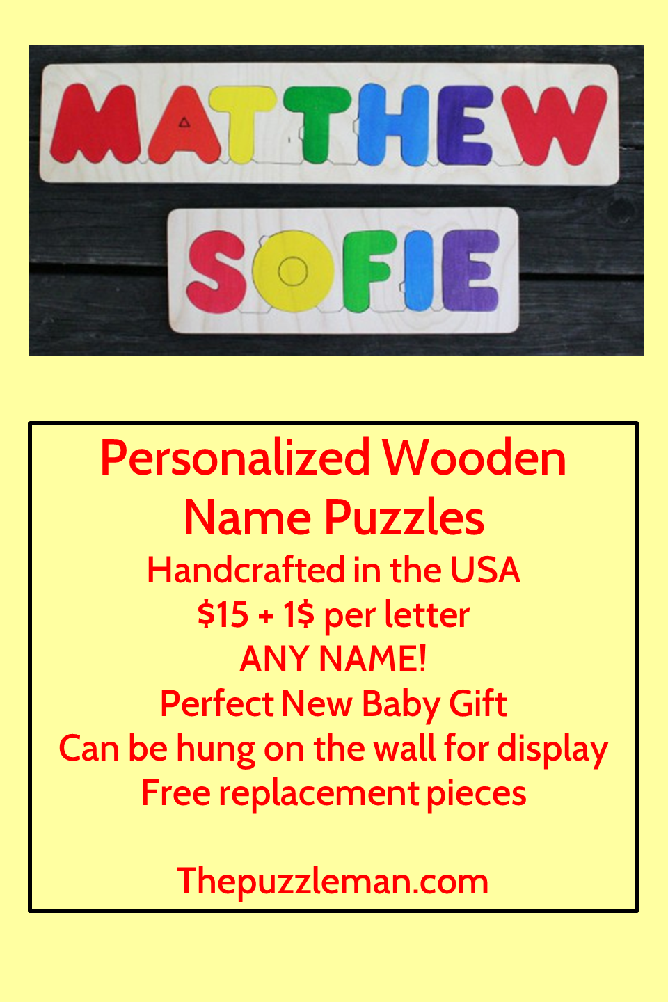Name Puzzles Name puzzle, New baby products, Map puzzle