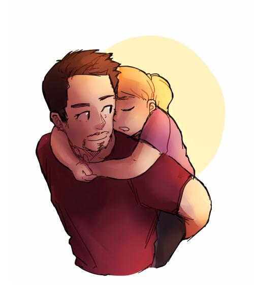 Tony With His Daughter Art By Cazdraws Timblr Com Dibujos Para Papa Familia Stark Dibujos
