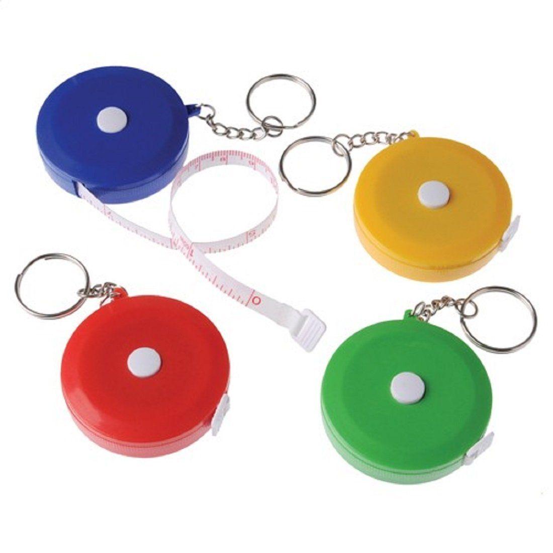 Lot Of 12 Assorted Color Mini Tape Measure Key