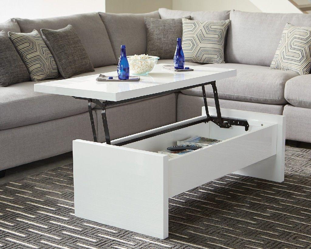 Scott Living Contemporary White Lift Top Coffee Table Coaster 721248 Coffee Table Lift Top Coffee Table Lift Up Coffee Table [ 819 x 1024 Pixel ]