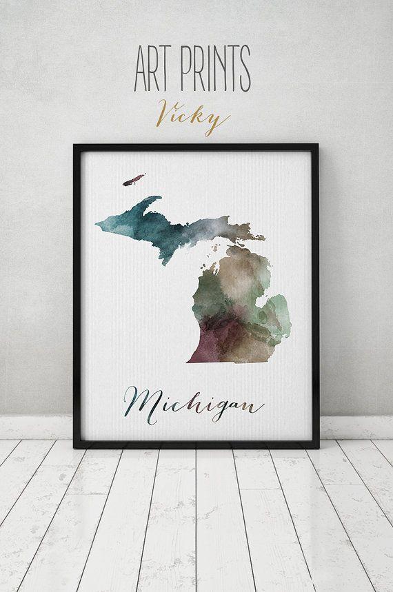 Michigan State Map Watercolor Map Wall Art By Artprintsvicky