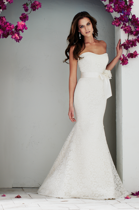 Style 1764| Mikaella Re-embroidered Lace wedding dress. Strapless ...