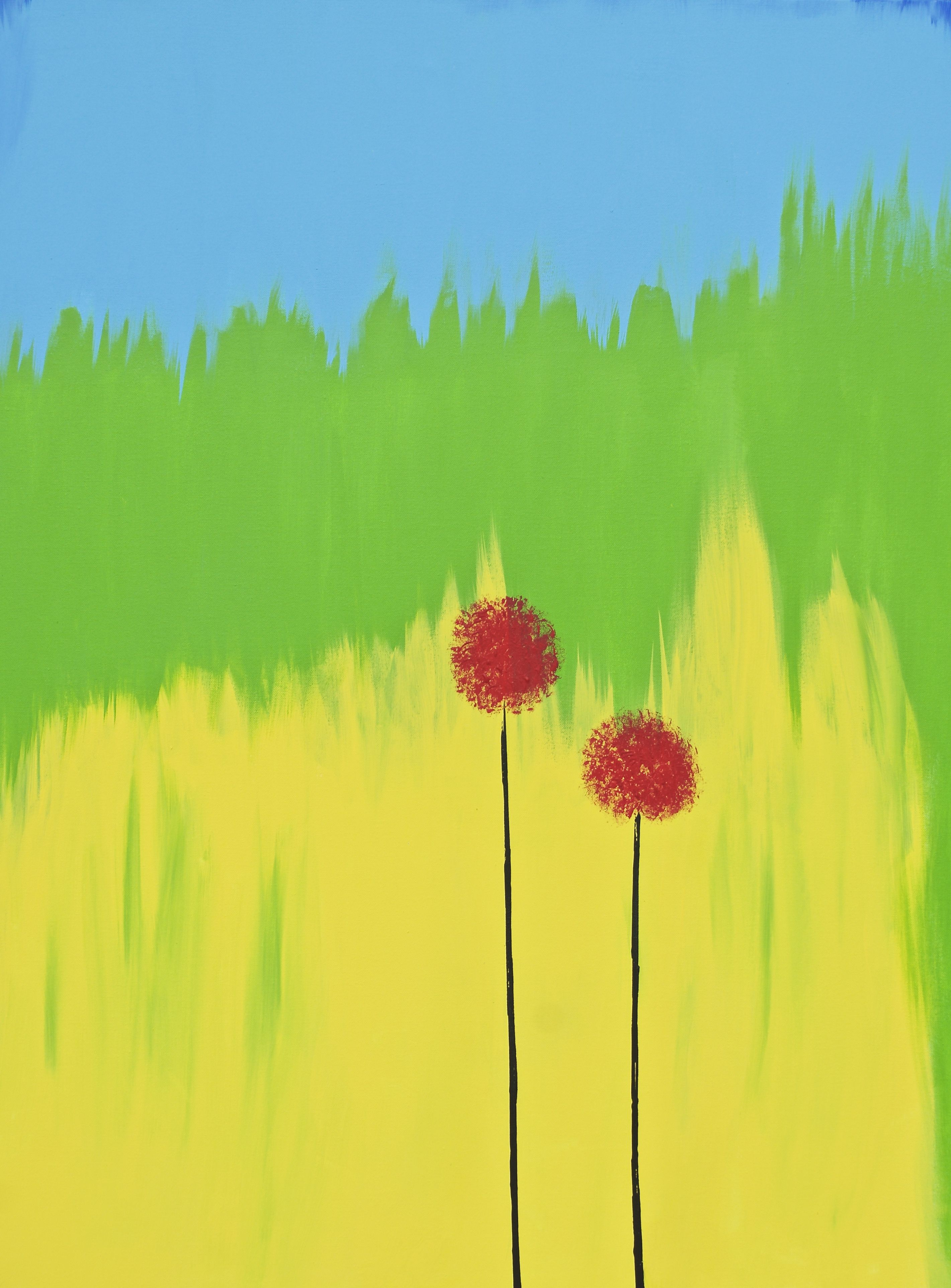 For Sale Poppy Flower Painting Autumn Painting Red Yellow Green