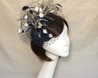 Gold fascinator wedding headdress Navy and by themakingboutique ... 40eba3dd602