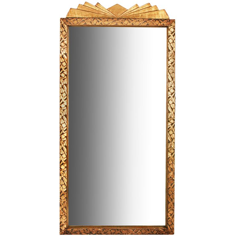 Art Deco Jazz Age Geometric Gold Mirror with Cubist Design  United States  1930's  This is a gret looking Art Deco mirror.