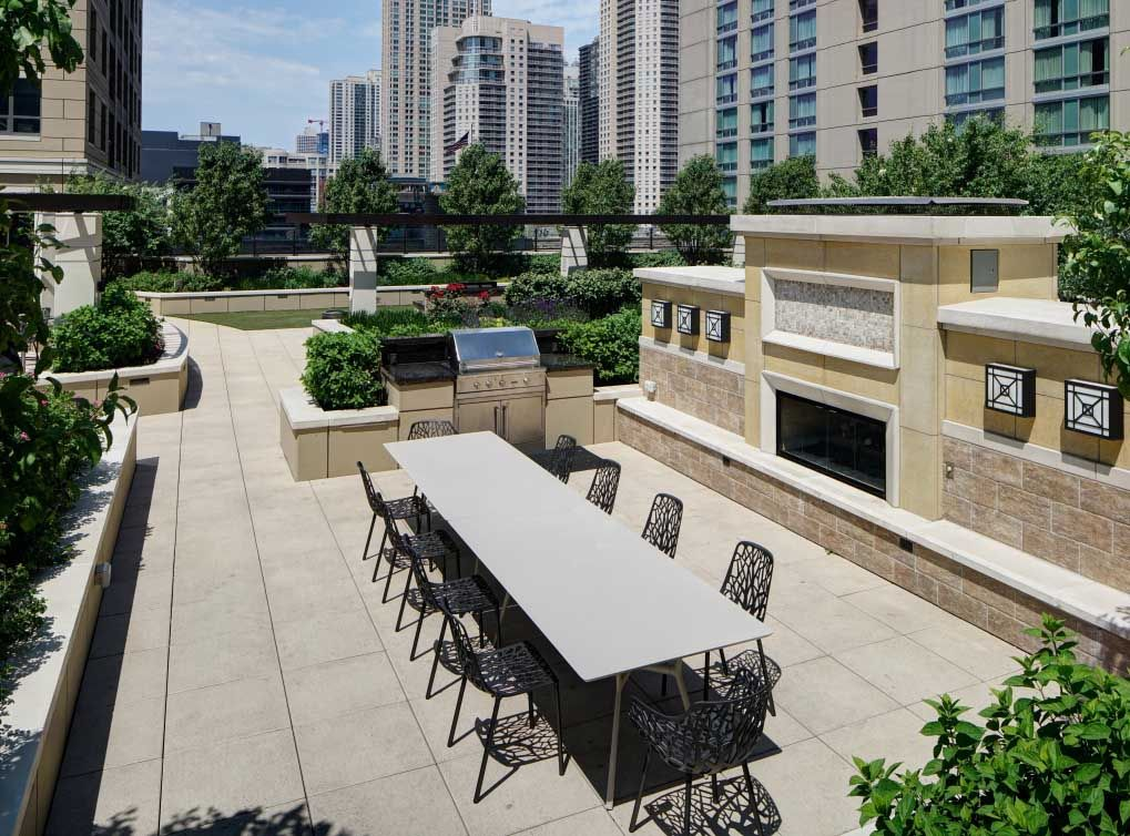 The landscaped courtyard on the rooftop at these luxury