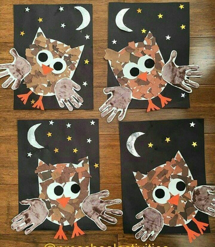 Owl Craft Aktivität. - Bastelideen Kinder #halloweencraftsfortoddlers