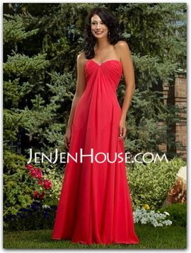 A-Line/Princess Sweetheart Floor-Length Chiffon Bridesmaid Dresses With Ruffle (007001058) - JenJenHouse.com