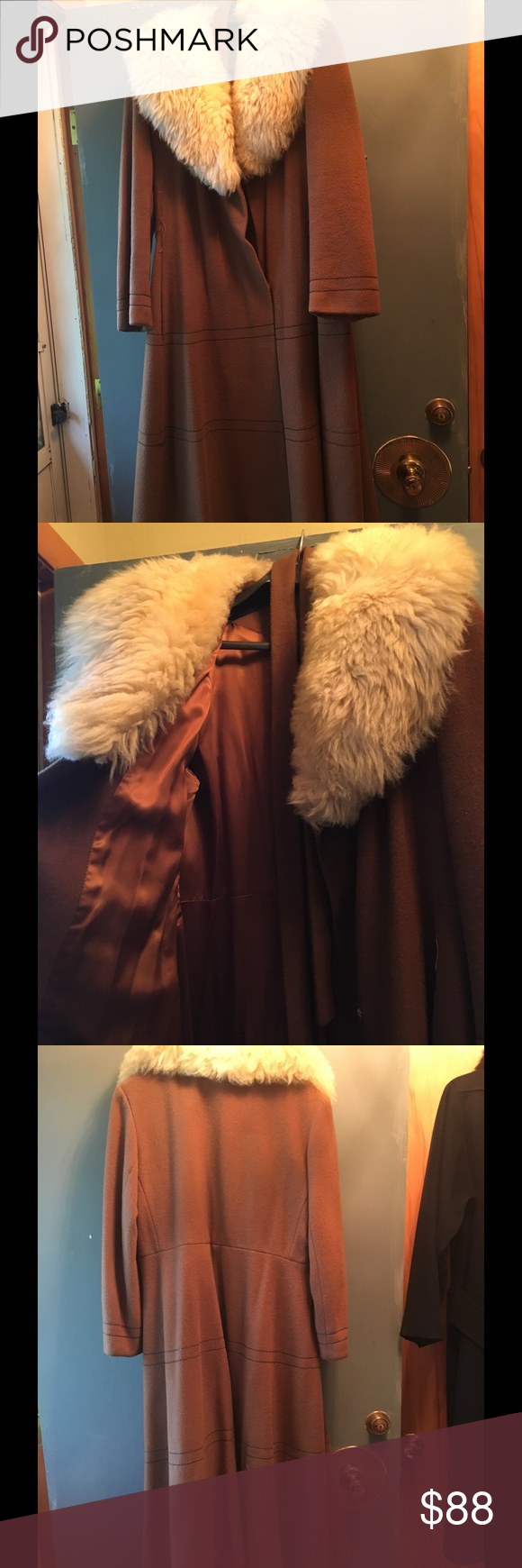 Wool coat, fine faux fur trim Gorgeous camel wool coat. Beautiful and elegant , classic color never go out of style. Full faux fur detachable collar in mint condition. Jackets & Coats