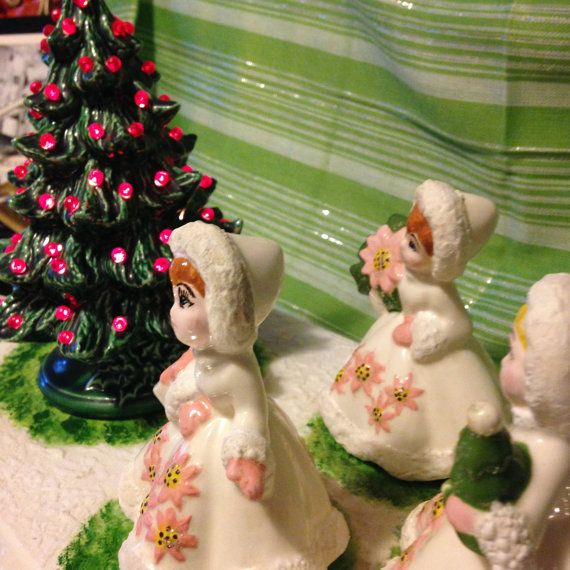 Porcelain Vintage Victorian Hand Painted Christmas Display with Tree