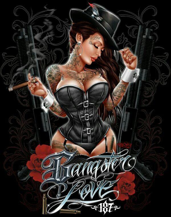 Gangster love  tattoos  Pinterest  Artstico Gngsteres y Amor
