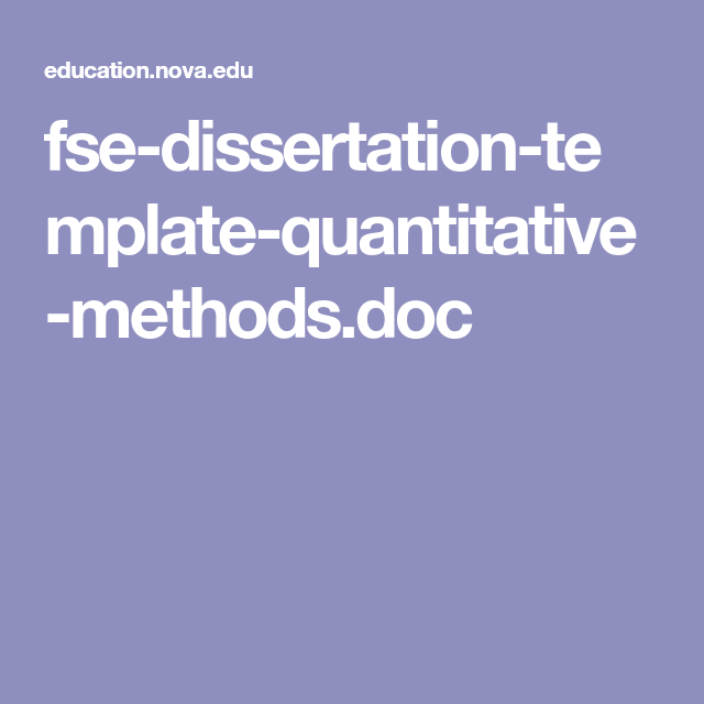 FseDissertationTemplateQuantitativeMethodsDoc  Numbers Hurt