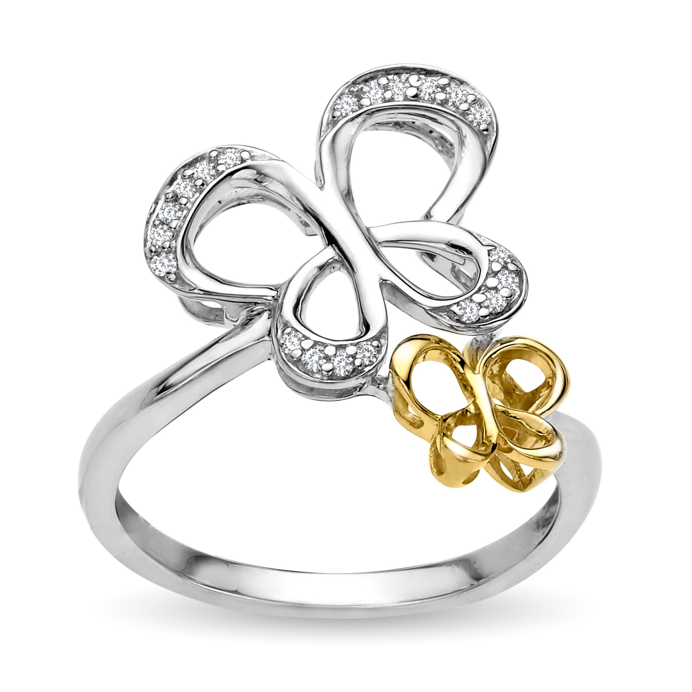 Jessica simpson diamond double butterfly ring in sterling