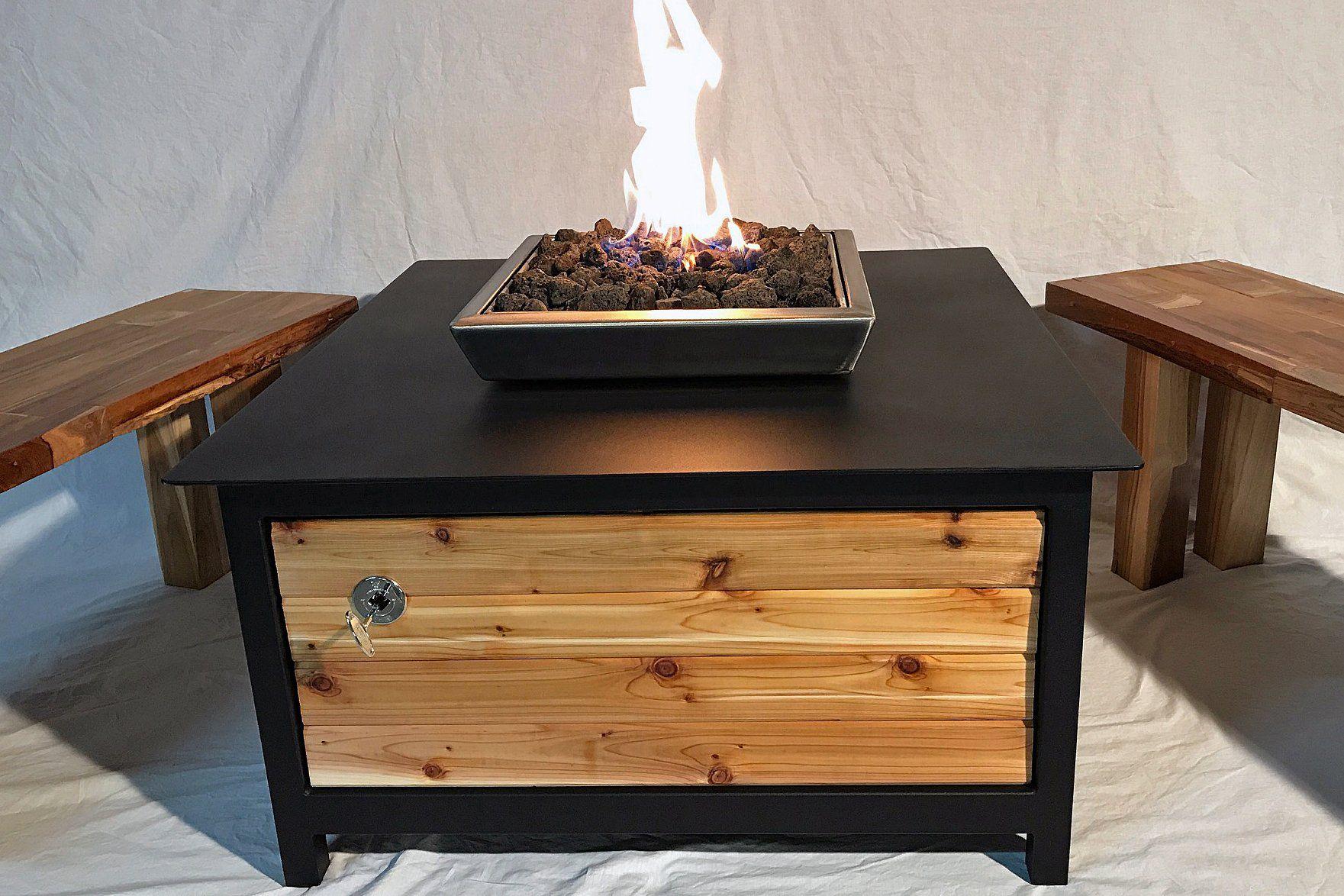 Heavy duty gas fire table u raven black u cedar side panels u square