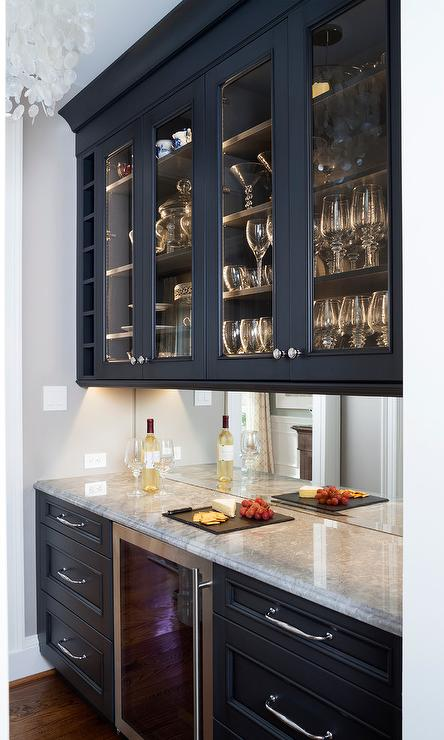 Dark Blue Butlers Pantry Cabinets with Mirror Backsplash - Transitional - Dining Room
