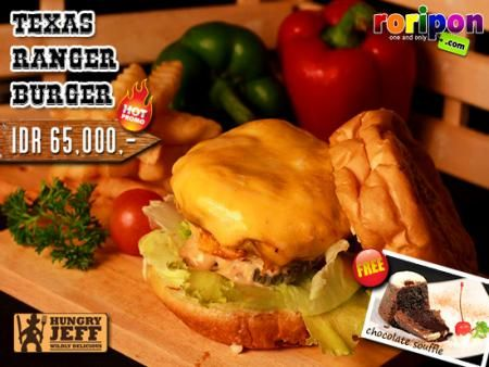 [ Special Offer ] Purchase The Wildly Delicious Texas Ranger Burger + Chocolate Souffle Worth Idr 104,000 / Pax, Now Only Idr 65,000,-. Special Western Cuisine With The Best Serve Delicious Tender Meat Burger And Extra Chocolate Souffle For Dessert Only At  www.roripon.com