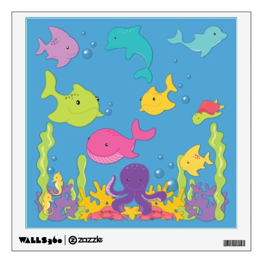 Cute Sea Animals Wall Sticker Wall Decals Pinterest Wall
