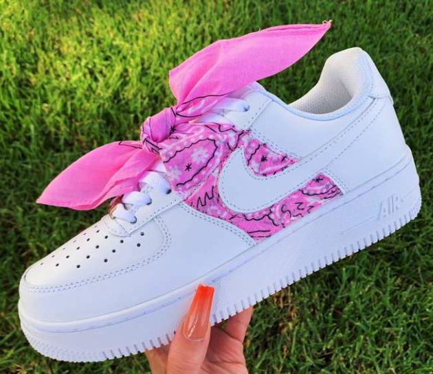 Pink Bandana AF1 in 2020 Nike air shoes, Fresh shoes