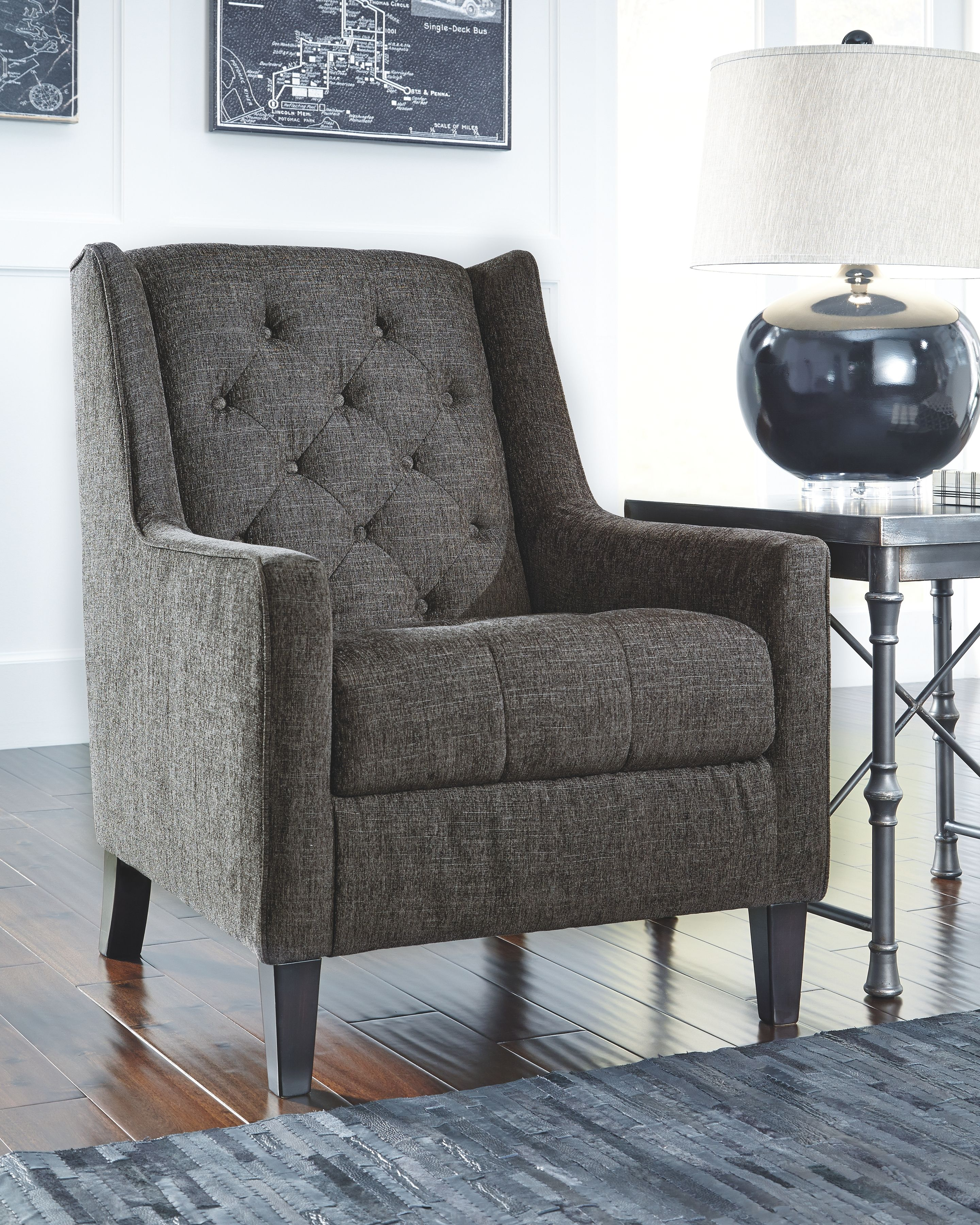 Best Ardenboro Accents Chair Charcoal Accent Chair Fabric 400 x 300