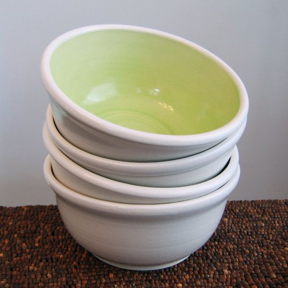 Soup Or Cereal Pottery Bowls In Lime Green Set Of 4 Stoneware Ceramic Bowls On Etsy 84 00 Pottery Bowls Ceramic Bowls Stoneware Ceramics