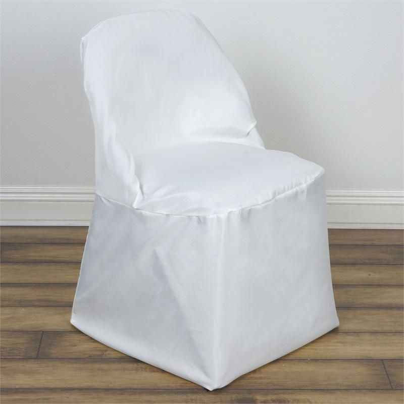 Ivory Polyester Folding Round Chair, Round Lounge Chair Covers