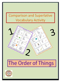 This activity provides opportunity for learning comparison and superlative vocabulary using measurement terms.  Each task card has 4 items listed in random order and a descriptor.  Students are required to reorder the items according to the descriptor.