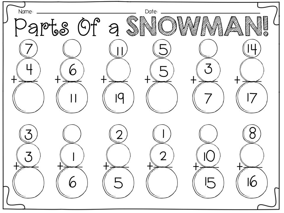 Winter Activities for First Graders   Mathe, Kindergarten ...