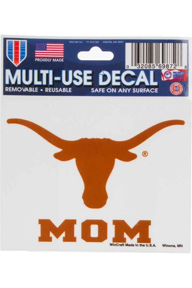 "This multi-use Longhorn Mom decal is removable, reusable, and safe on any surface. Measures 3 3/4"" x 3"". Made in the USA."