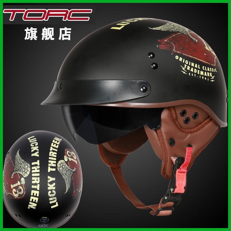 d11986a45cb32 TORC T55 motorcycle helmet vintage Harley helmet retro scooter half helmet  with inner visor lens casco