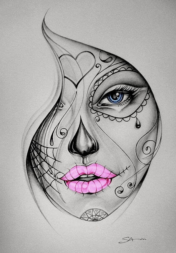 Photo of Candy skull girl tattoo color – artist