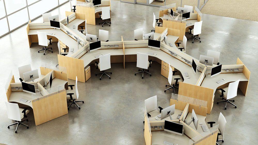 Bureau pour open space en bois contemporain à usage