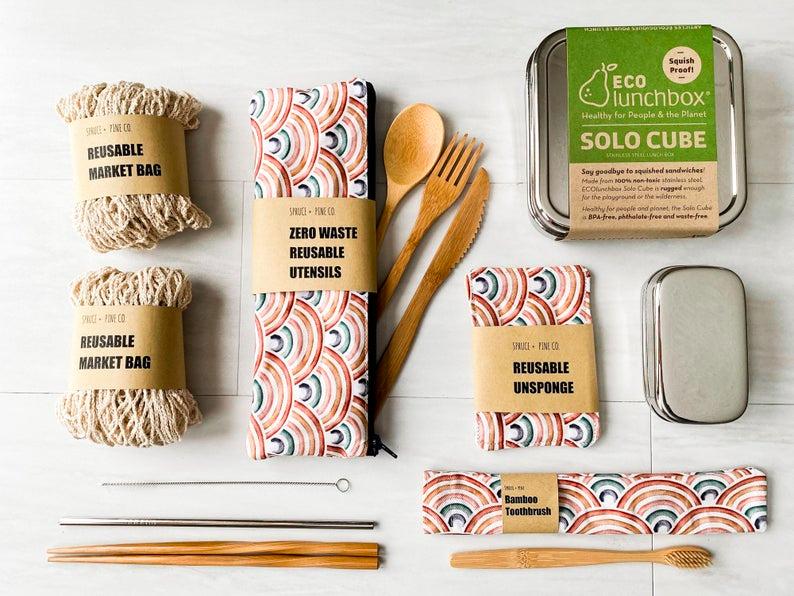 Zero Waste Kit Customizable Spruce And Pine Vegan Gift Etsy In 2020 Easy Eco Friendly Reusable Utensils Vegan Gifts