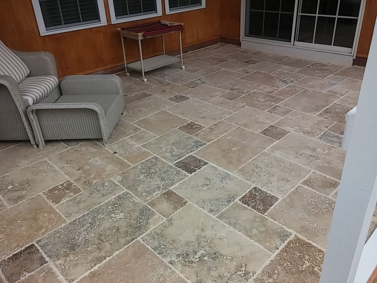 Screen porch floor with travertine tile by archadeck of for Porch flooring