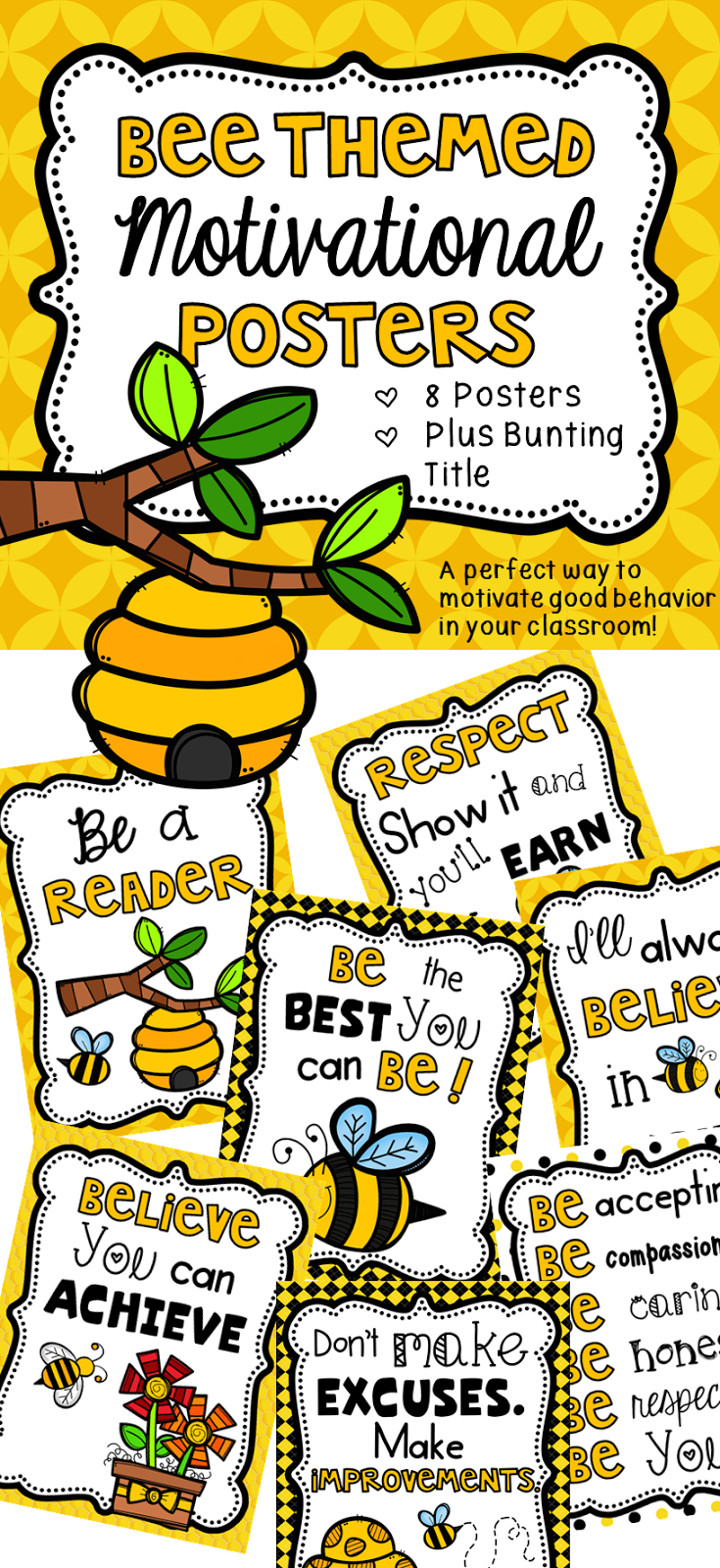 Bee Themed Motivational Posters And Giveaway Bee Theme Bee Themed Classroom Classroom Motivation