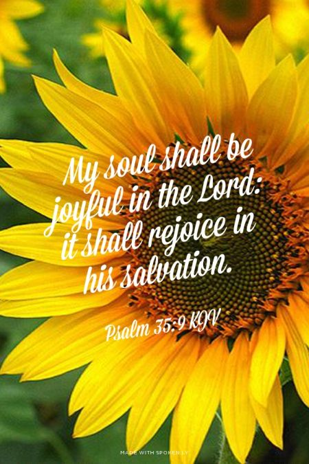My soul shall be joyful in the Lord: it shall rejoice in his salvation. - Psalm 35:9 KJV | Shasta made this with Spoken.ly