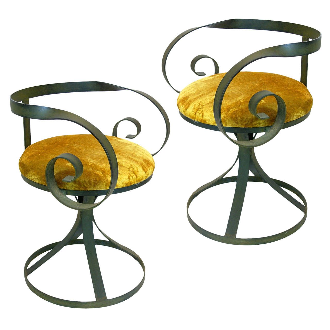 Pair Of Whimsical Wrought Iron Curlicue Swivel Chairs From A