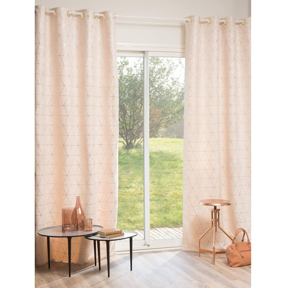Single Beige And Gold Eyelet Curtain 135x250 Rose Gold Curtains