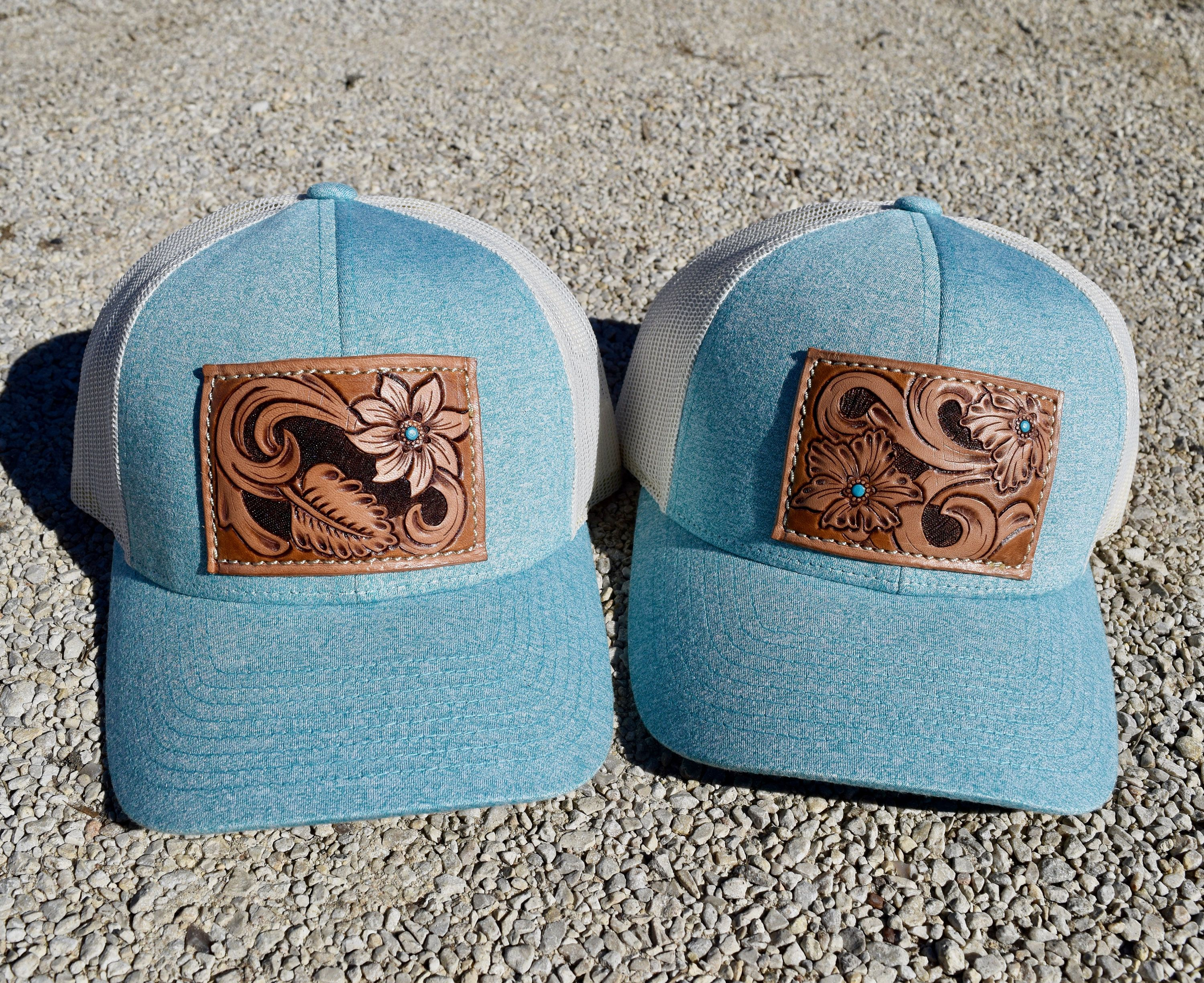 Tooled Leather Patch Snap Back Hat- light blue with white mesh ... 6b3902b23b71