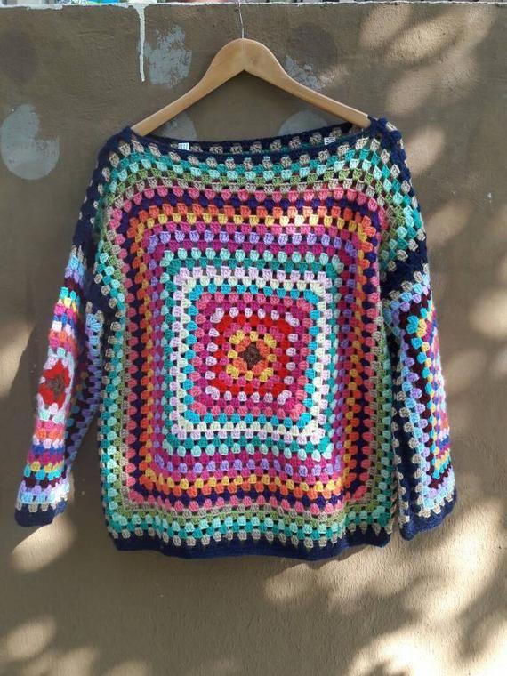 Grandma Square Sweater Crochet Boho Sweater Knit Sweater Femmes Vêtements Accessoires Cadeaux Idées