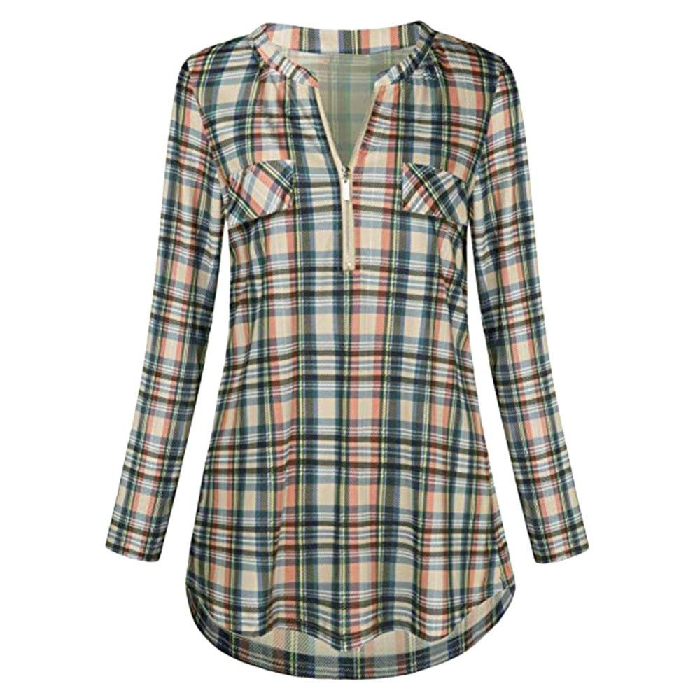 12e6fd93f4cde Womens Tops And Blouses 2018 Women Vintage Plaid Pocket Long Sleeve Blouse  Clothes Tunic Ladies Tops