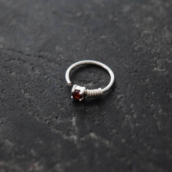 One Garnet 20g 0 8mm 5 16 8mm Sterling Silver Annealed Beaded 16g 1 2mm Nose Piercing Hoop Ring Jewelry Bend Nose Piercing Hoop Garnet Stone Jewelry Rings