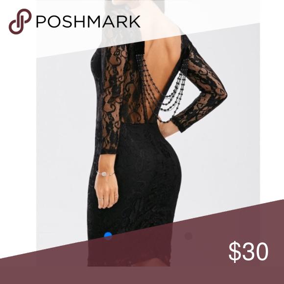 Y Black Body Con Lace Dress