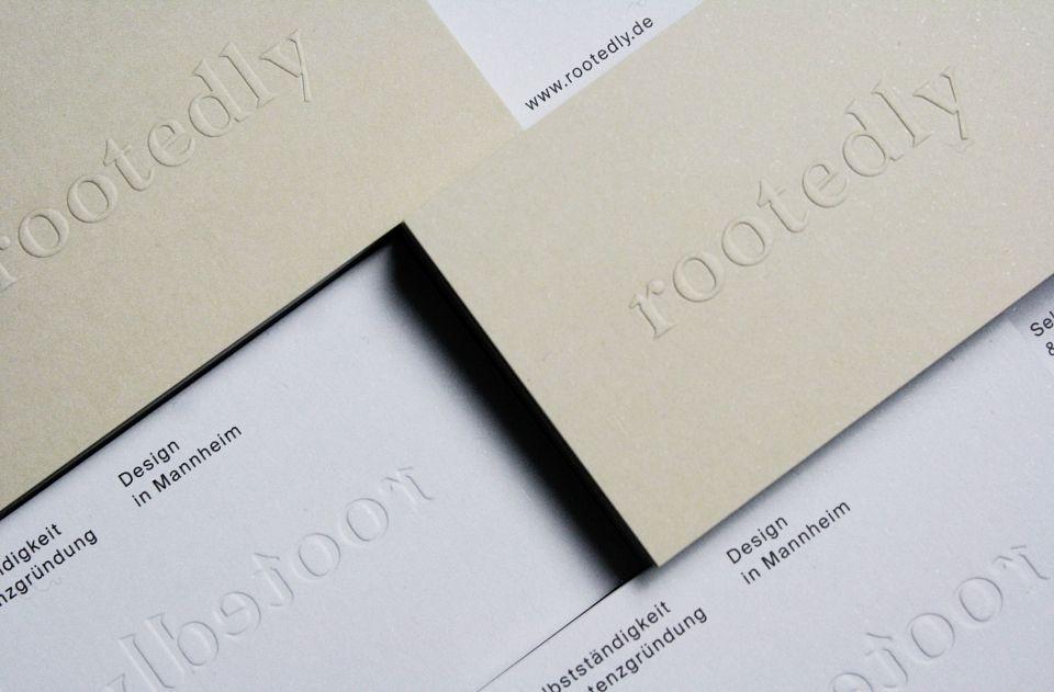rootedly blind embossed business cards / Studio Britz | Branding ...