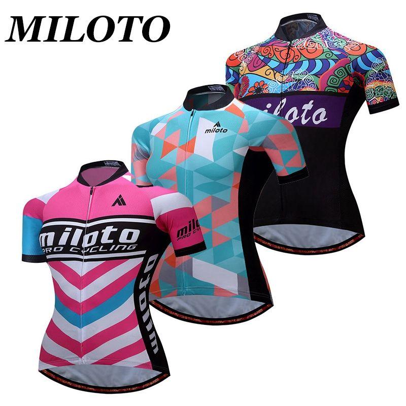 MILOTO 2017 Pro Team Women s Cycling Jersey Short Sleeve Bike Wear  Breathable Bike Outdoor T- 7b8aaa0d5