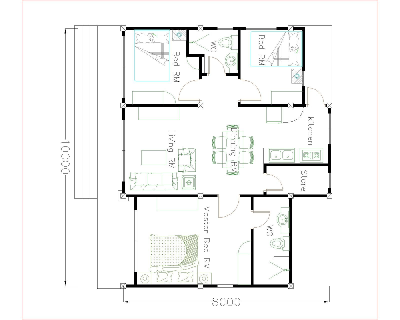 House Plans 10x8 With 3 Bedrooms Gable Roof House Plans 3d Small House Plans House Plans House Roof